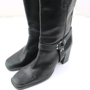 Apostrophe Womens Black Mid-Calf Harness Boots